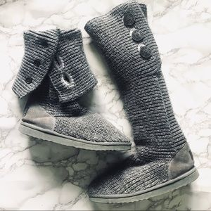 UGG Classic Carly Grey Sweater Boots